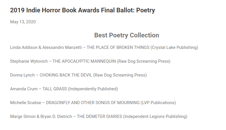 2019_Indie_Horror_Book_Awards_Final_Ballot_Poetry